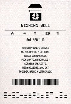lottery ticket wedding shower | Bridal Shower Lottery Ticket Wishing Well