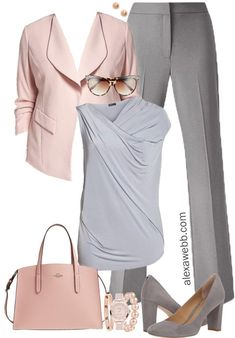 Plus Size Grey & Blush Work Outfit - Plus Size Work Wear - Plus Size Fashion for Women - alexawebb.com #alexawebb