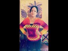 Crochet abrigo de cuadrado o granny square para adulto - YouTube