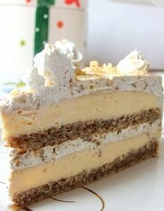 Egyiptomi álom (Egyptian Dream- walnut and vanilla cream cake) Hungarian Desserts, Hungarian Recipes, Esterhazy Torte, Fun Desserts, Dessert Recipes, Cream Cheese Bread, Croatian Recipes, Icebox Cake, Homemade Cakes