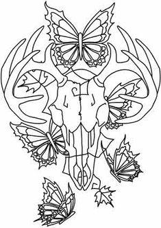 Deer Skull and Butterflies design (UTH3627) from UrbanThreads.com