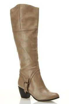 Taupe Buckle Detail Boot