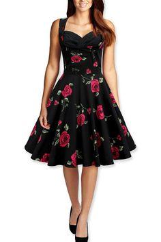 Robe De Bal Des Années 1950 Rockabilly Millésime (46, Noires - Grandes Roses Rouges)