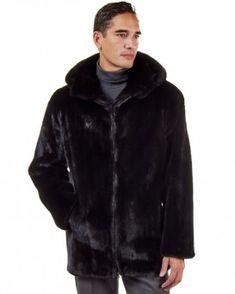 The Hudson Mid Length Black Mink Fur Coat for Men