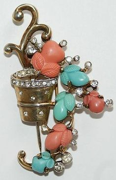 Trifari Alfred Philippe Fruit Salad Flower Pot Pin Clip 1940s