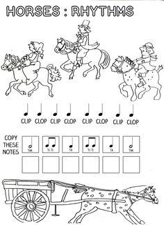 lets play music horses rhythm work sheet free printables