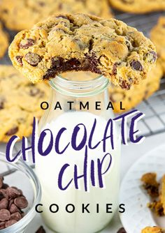 THE BEST! Oatmeal Chocolate Chip Cookies are perfectly soft and chewy and everything a chocolate chip oatmeal cookie should be! They're just like what you would get from your favorite bakery. Chocolate Marshmallow Cookies, Chocolate Chip Shortbread Cookies, Toffee Cookies, Raisin Cookies, Chocolate Chip Oatmeal, Pretzel Cookies, Salted Pretzel, Chip Cookie Recipe, Cookie Recipes