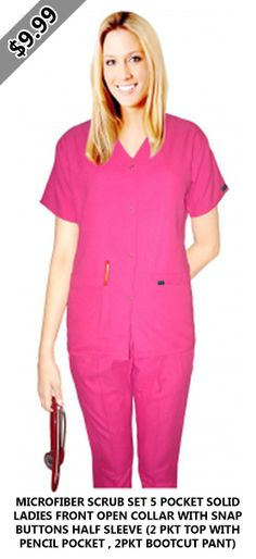 Microfiber scrub set 5 pocket solid ladies front open collar with snap buttons half sleeve pkt top with pencil pocket , bootcut pant) Scrub Sets, Half Sleeves, Scrubs, Short Sleeve Dresses, Lady, Pants, Pencil, Tops, Buttons