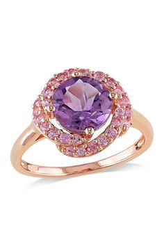Amethyst & Swirling Pink Sapphire Fashion Ring by Add Some Sparkle on @HauteLook 54 rodium burmel indranil yagaan bolor