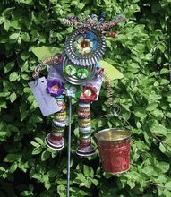 Pink Bucket Recycled Garden Goddess by Kim Groff-Harrington