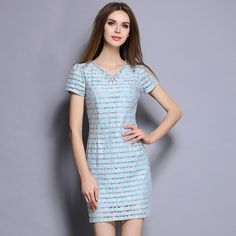 XXL Women Summer Dress high quality stripe water-soluble lace V neck diamond dress Women's Elegant OL Party Slim Dress 7057 Fashion 2017, Trendy Fashion, Fashion Outfits, Street Fashion, Beautiful Outfits, Beautiful Gifts, Fashion Capsule, Bridal Fashion Week, Summer Dresses For Women