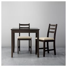 LERHAMN Table and 2 chairs, black-brown, Vittaryd beige. A simple and sturdy set that's perfect for your breakfast nook or smaller dining area. The solid pine holds up well over time and will endure all the family meals and activities around the table. At Home Furniture Store, Modern Home Furniture, Affordable Furniture, Outdoor Furniture, Ikea Lerhamn, Chaise Ikea, Table Ikea, Small Dining Area, Small Table And Chairs