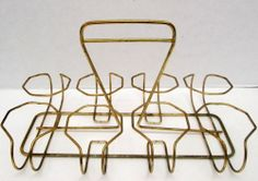 Retro Vintage Mid Century Wire 8 Drinking Glass Carrier Caddy Rack Holder Only