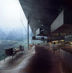 Jensen & Skodvin's latest undulating floor concept for a new hotel tower in Vals.
