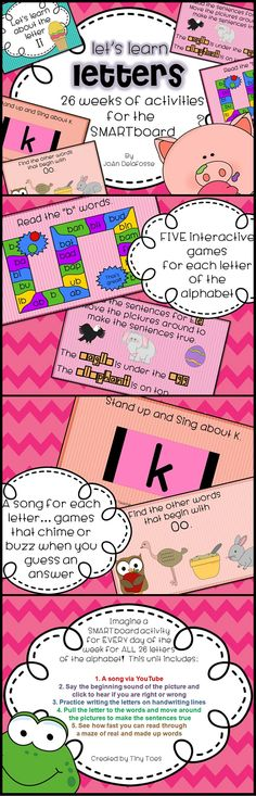 Looking for a DAILY activity to introduce and reinforce the letters of the alphabet? Here it is! This exciting SMARTboard (.notebook) file is fun and easy to to use. No more scrounging around for a new lesson because this has a lesson for EACH day of the week... and for EACH letter of the alphabet! 156 pages!! $
