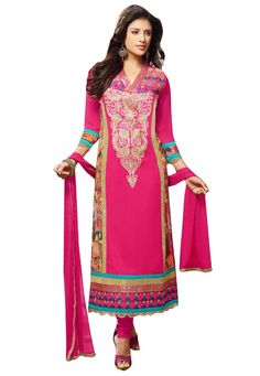 #Pink #Georgette #Chuddidar #Kameez with #Dupatta.  #Pink #Georgette #kameez #designed with #Zari,#Resham #Embroidery With #Lace #Border #Work.  INR: 1,530.00  With Exclusive Discounts  Grab: http://tinyurl.com/oft255d