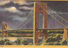 New York City Night Scene Washington Bridge and Hudson River, vintage linen postcard