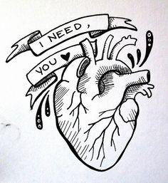 anatomical heart, i need you illustration, tattoo design