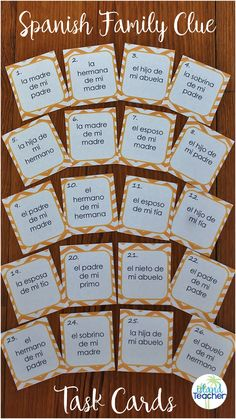 30 La Familia Spanish Family Clue Task Cards along with activity suggestions.