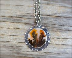 Dendritic agate necklace. Sterling silver & 18K gold rustic dendrite agate pendant. Autumn trees necklace. Fall trees gemstone pendant. by ForestBook on Etsy https://www.etsy.com/listing/251778837/dendritic-agate-necklace-sterling-silver