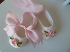 Baby Girl Shoes . Silk Ballet Slippers with Hand by JibJabbers
