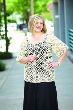Peasant Top | crochet pattern by Jill Wright and Marlaina Bird, in sizes Large to 4X.
