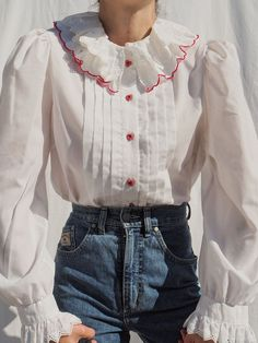 Cute Comfy Outfits, Pretty Outfits, Camisa Vintage, Fashion Line, Cotton Blouses, Mode Inspiration, Fashion Outfits, Womens Fashion, Ideias Fashion