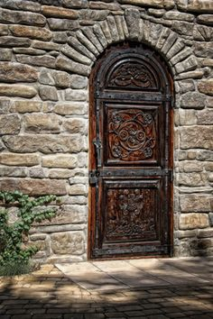 Carved door in stone wall.