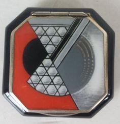 1920s-Sterling-Silver-Striking-Art-Deco-Octagon-Enamel-Compact-Germany-Vermiel, via Mine Akkoyunlu