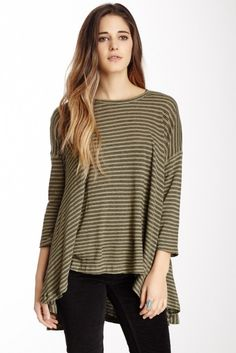 Free People In the Sand Linen Blend Hi-Lo Tee