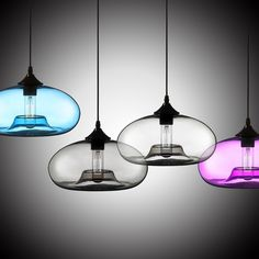 Compatible with both retro and contemporary decor, this pendant light is ideal for various today's home design. It is combined a smooth hand-blown glass shade with a black round ceiling canopy. The adjustable black cable coordinates perfectly, making this a strong yet simple mini pendant look. Shown with a 40 watt vintage carbon filament bulb. An open concave oval shade in 7 colours for you to choose.