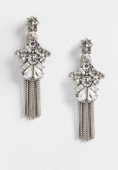 rhinestone earrings with chain fringe   maurices