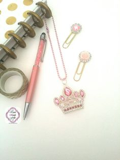 Pink Crown Planner Charm for all planners  erin condren filofax kikki kCheck out this item in my Etsy shop https://www.etsy.com/uk/listing/261167030/pink-crown-planner-charm-light-pink