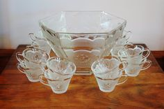 Eagle Star Glass Punch Bowl Set, Retro Americana Hazel Atlas Clear Punch Serving Set, Wedding Gift, Mid Century Patriotic Barware Party Ware