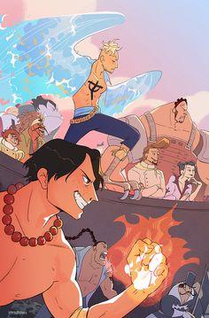 my full piece for the @onepiece-zine!! I had so much fun drawing this! One Piece Ace, King Art, Cartoon Art, Zine, Cool Drawings, Amazing Art, My Hero, Pirates, Manga