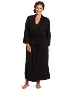 Natori Womens  PlusSize ShangriLa Bathrobe Black 1X ** You can find out more details at the link of the image.
