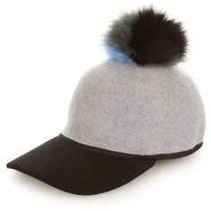 Charlotte Simone Sass fox-fur pompom cap ($121) ❤ liked on Polyvore featuring accessories, hats, baseball cap, sports caps, sports caps hats, caps hats and sport caps