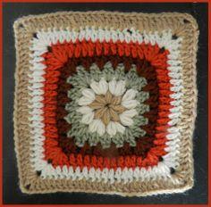 #74 Puff Stitch, Crochet Granny Square, 8 inches, G hook,