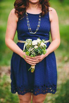super cute navy blue bridesmaid dress with belt