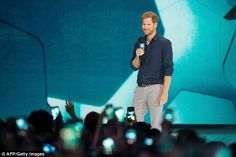 Harry,who is staying in the Canadian city for the week-long Paralympic-style games, took to the stage on Thursday's concert-style event at the the Air Canada Centre to give a 'powerful' speech to starstruck locals