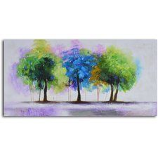 'Blue and Green Copse' Original Painting on Wrapped Canvas