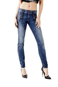 Letitia Mid-Rise Skinny Jeans in Passionate Blue Wash | GUESS.com