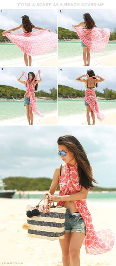 Vacation outfit: how to tie a printed scarf as a beach / pool cover up top: