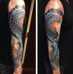 Mens Circular Patterned Universe Tattoo On Sleeve