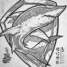 Shark sketch #sketch #drawing #shark #surf #scuba #diver #shield #designer #illustration #water