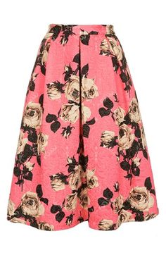 topshop textured rose midi skirt