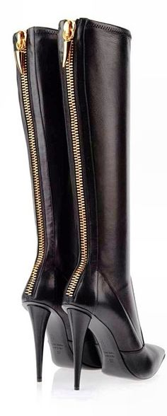 Guiseppe Zanotti. ~ L O V E the zipper detail up the back and that the leather looks SO BUTTERY SOFT! Then, the heel . . ..