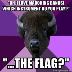 """""""Oh, I love marching bands! Which instrument do you play?"""" """"...the flag?"""" (EVERYTIME! LOL!)"""