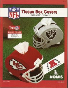 plastic canvas nfl helmets | NFL Tissue Box Covers In Plastic Canvas American Football Conference ...