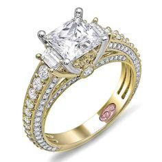 Yellow Gold Princess Cut Diamond Engagement Rings